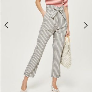 Belted striped trousers